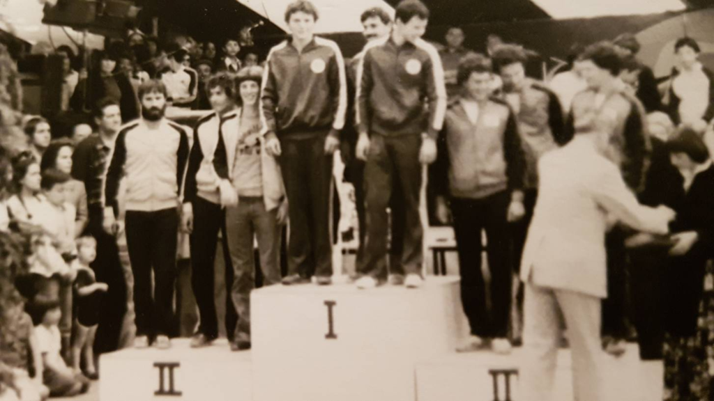 Photo :François VUILLERMOT  Podium de la finale de la coupe d'Europe slalom 1980 Jean Paul à droite sur la seconde marche du podium