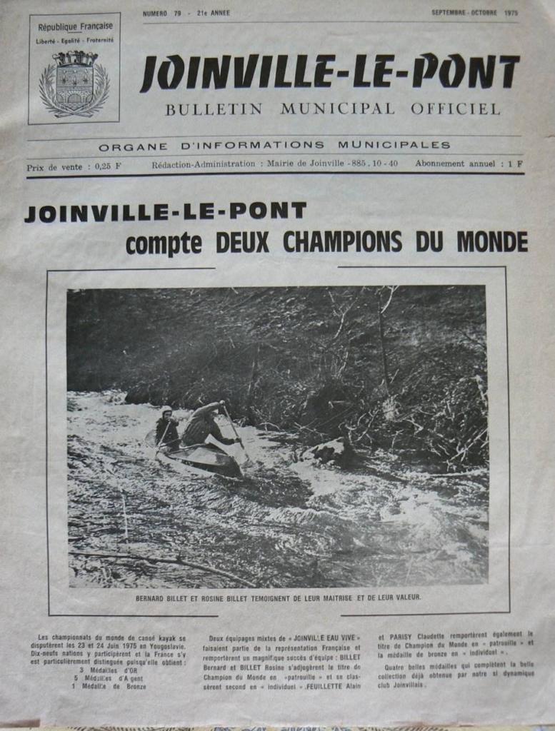 La presse locale relate les exploits de nos champions  La une du journal de Joinville le Pont en septembre 1975
